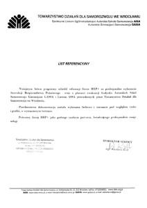 List referencyjny od Towarzystwa Działań dla Samorozwoju