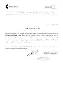 Stowarzyszenie Polska Izba Młodych Przedsiębiorców LOM - list referencyjny